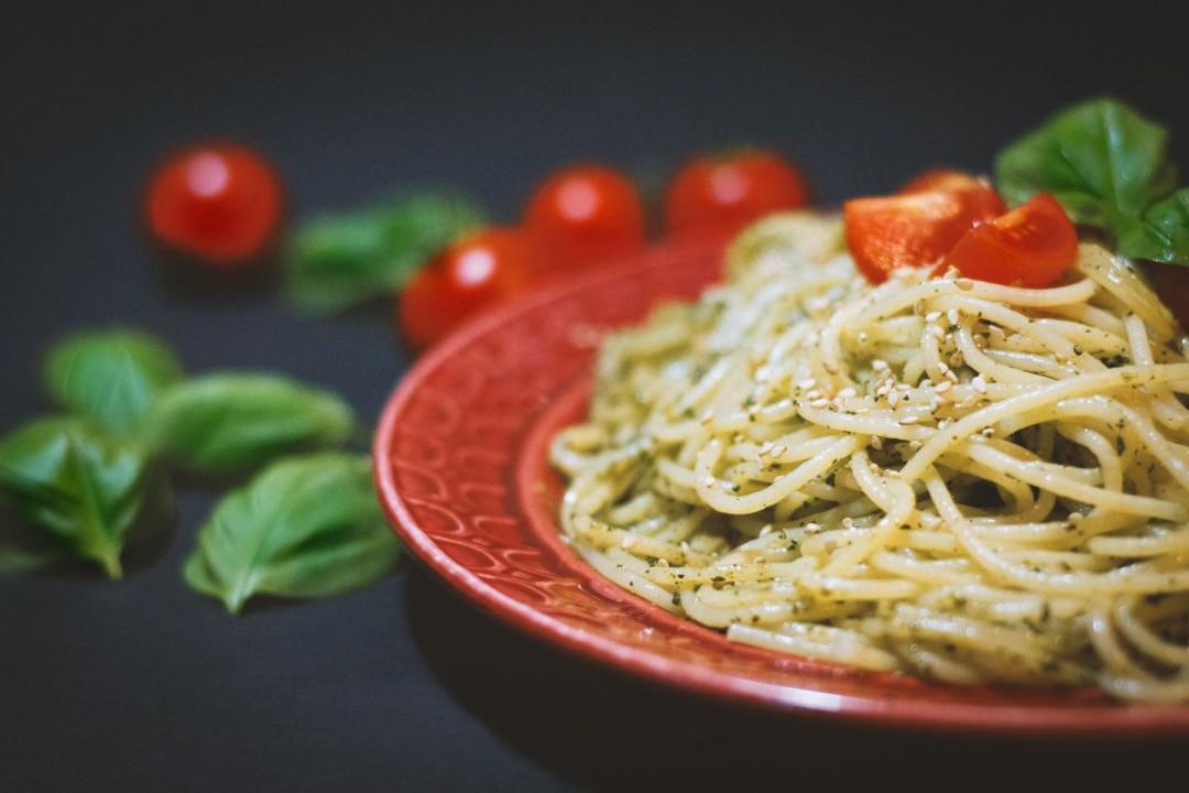 spaghetti with cedar nut pesto