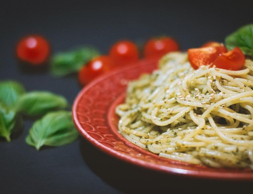 spaghetti with cedar nut pesto